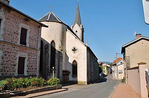 Changy, Loire - The church and surrounding buildings in Changy