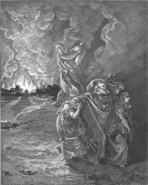 English: Lot Flees as Sodom and Gomorrah Burn ...