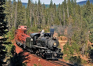 McCloud Railway - MCR No. 25, a  2-6-2 locomotive built by Alco in 1925. 2008 photo near McCloud.