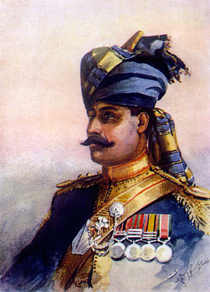 5th Horse - Risaldar-Major, 11th King Edward's Own Lancers (Probyn's Horse). Watercolour by AC Lovett, 1910