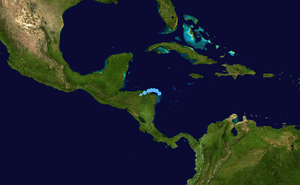 October 2008 Central America floods - Storm path of Tropical Depression Sixteen