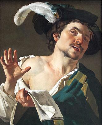 Dirck van Baburen - Young man singing, 1622, Städelsches Kunstinstitut