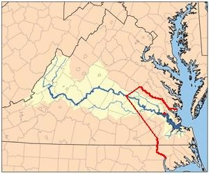 Anglo-Powhatan Wars - Red line shows boundary between the Virginia Colony and Tributary Indian tribes, as established by the Treaty of 1646. Red dot shows Jamestown, capital of Virginia Colony.