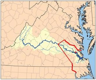 Powhatan - Red line shows boundary between the Virginia Colony and Tributary Indian tribes, as established by the Treaty of 1646. Red dot on river shows Jamestown, capital of Virginia Colony.