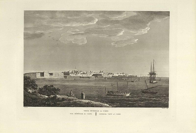 File:1806-1820, Voyage pittoresque et historique de l'Espagne, tomo II, Vista general de Cádiz.jpg