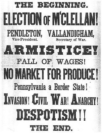 Clement Vallandigham - Union Party poster for Pennsylvania warning of disaster if McClellan wins.