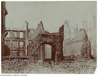 Great Fire of Toronto (1904) - This view shows damage on the north side of Front Street West.