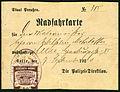1920-09-07 Radfahrkarte Staat Preußen No. 385 Polizei-Direktion Gebühren-Marke Stadt Celle Magistrat Malermeister Wilhelm Mohrbotter.jpg