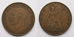 History of the British penny (1901–1970) - A 1936 George V penny