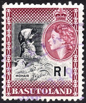 Basutoland - Postage stamp with portrait of Queen Elizabeth II, 1963