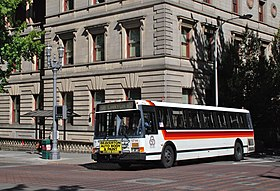 1992 Flxible bus, TriMet 1714, in downtown Portland in 2013.jpg