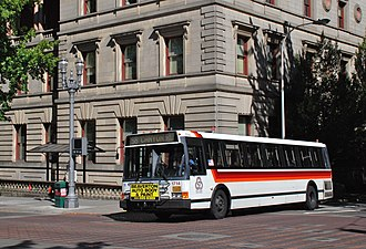 Flxible Metro - A 1992 Flxible Metro 40102-6C in Portland, Oregon, in 2013. TriMet was one of the last agencies operating Flxible Metro buses past 2010.