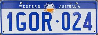 Vehicle registration plates of Western Australia - Image: 1997 Western Australia registration plate 1GOR♦024