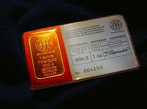 English: 1 oz (Troy ounce) of fine gold Deutsc...
