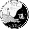 Maine quarter dollar coin