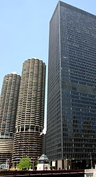 Marina City (left) and IBM Plaza (right) in Chicago.