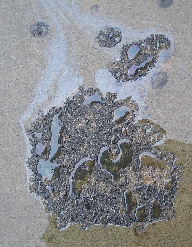 Oil slick on driveway
