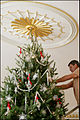 2006 Blue Room Christmas tree - being decorated.jpg