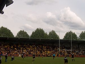 Rugby union in Belgium - Romain Orban of Kituro Rugby Club scores the winning conversion in the last second of the final of the Belgian Rugby Championship, 2009