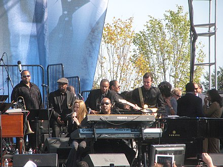 Crow with Stevie Wonder at the October 16, 2011, Martin Luther King, Jr. Memorial dedication concert 20111016 Sheryl Crow and Stevie Wonder at the MLK Memorial dedication concert.jpg