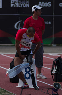 2013 IPC Athletics World Championships - 26072013 - Atsushi Yamamoto of Japan preparing for the Men's 100m - T42.jpg