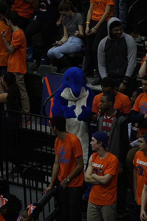Whitney M. Young Magnet High School - Dolphin mascot at the 2014 Chicago Public High School League championship basketball game