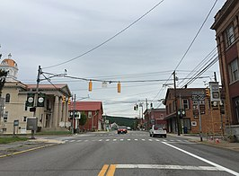 2016-07-07 15 54 20 View east along U.S. Route 50 and north along West Virginia State Route 28 (Main Street) at High Street in Romney, Hampshire County, West Virginia.jpg