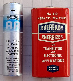 Regency TR-1 - 22.5 Volt battery used in the Regency TR-1 (AA battery for comparison shown on left)