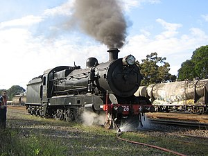 New South Wales C35 class locomotive - 3526 taking on water at the Hunter Valley Steamfest, Maitland
