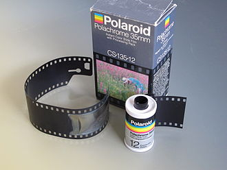 Polavision - Polachrome film in 135 cartridge and processing pack case.