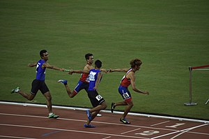 Philippines at the 2015 Southeast Asian Games - Filipino athletes (in blue) competing at the 4 × 400 m relay event