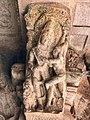 6th century amorous couple on pillar top looking below in Cave 3, Badami Hindu cave temple Karnataka 3.jpg