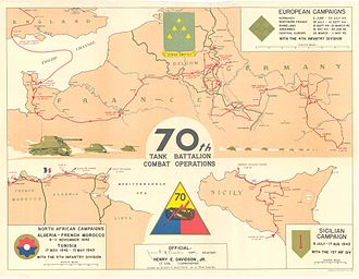 70th Armor Regiment - Campaign map showing the route of the 70th Tank Battalion across North Africa, Sicily, and Europe during World War II. U.S. Army