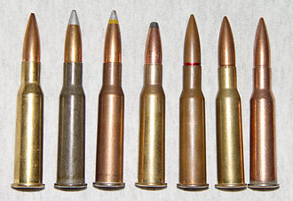 7.62×54mmR - Examples of 7.62×54mmR ammunition. The photo shows, reading from left to right: