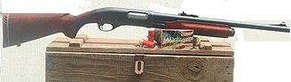 Shotgun slug - A Remington 870 12 gauge with sighted cylinder bore barrel suitable for Foster Slugs and Buckshot.