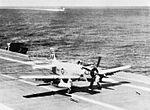 AD-6 Skyraider of VA-42 lands on USS Intrepid (CVA-11) in 1958.jpg