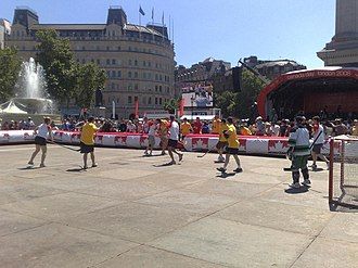 Street hockey - A street hockey game in Trafalgar Square in London, England, held in conjunction with Canada Day celebrations