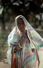 A Hindu girl poses for a photograph in a multicolored sari by Jules Gervais-Courtellemont.jpg