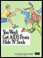 A boy chasing a girl with a message indicating that AIDS Wellcome L0052398.jpg