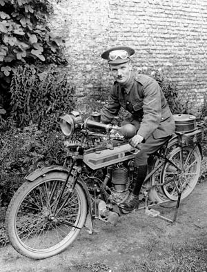 Despatch rider - A British motorcycle despatch rider, 1915