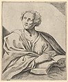 A man holding a book, about to write in it, looking upwards to the left, after Reni (?) MET DP837920.jpg