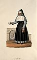 A nun holding a medicine spoon with her hospital behind her. Wellcome V0015188.jpg