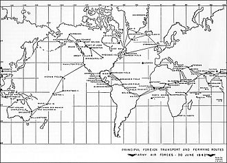 Air Transport Command - Major trunk air routes of AAF Ferrying Command, June 1942