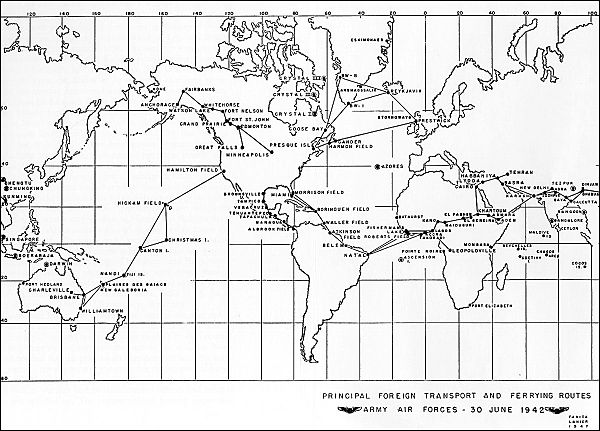Major trunk air routes of AAF Ferrying Command, June 1942. Aaffc-routes-jun-1942.jpg