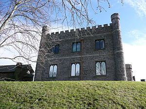 "Abergavenny Castle - The refurbished 19th-century square hunting lodge ""keep"" now houses the Abergavenny Museum."