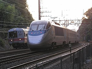 High-speed rail in the United States - Acela Express and Metro-North commuter trains share the same tracks through Connecticut.