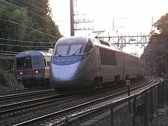 Acela Express - An Acela Express train passes a Metro-North New Haven Line train in southwestern Connecticut
