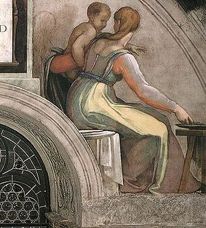 Sistine Chapel ceiling - The location of the scaffolding is evident on this lunette