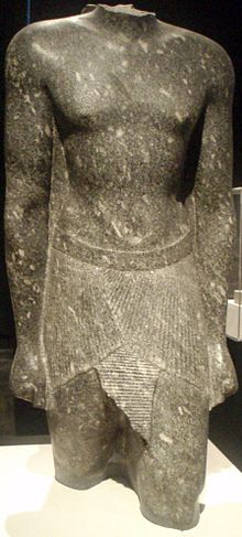 Granodiorite fragmentary statue torsi of the pharaoh Hakor, circa 393-381 BC, Now at the Museum of Fine Arts, Boston.