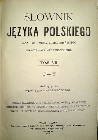 Culture of Poland - First Polish language dictionary published in free Poland after the century of suppression of Polish culture by foreign powers